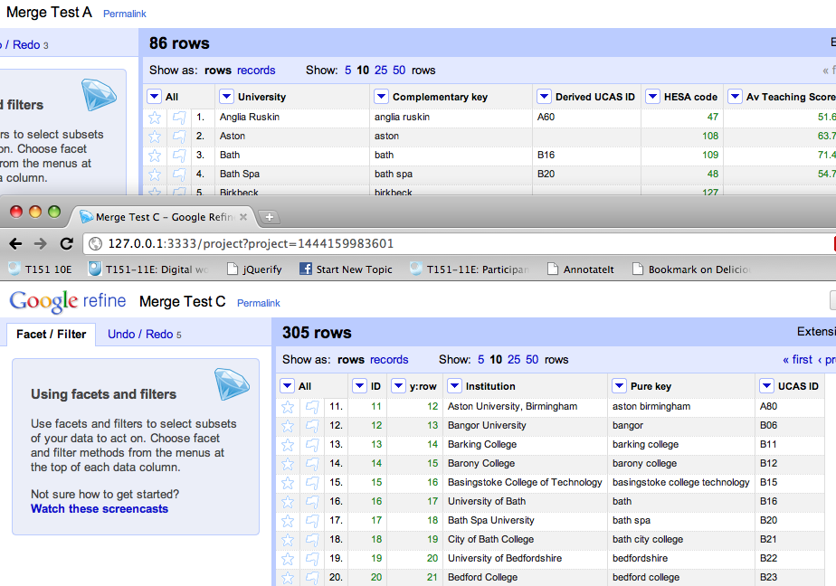 Merging Datasets with Common Columns in Google Refine
