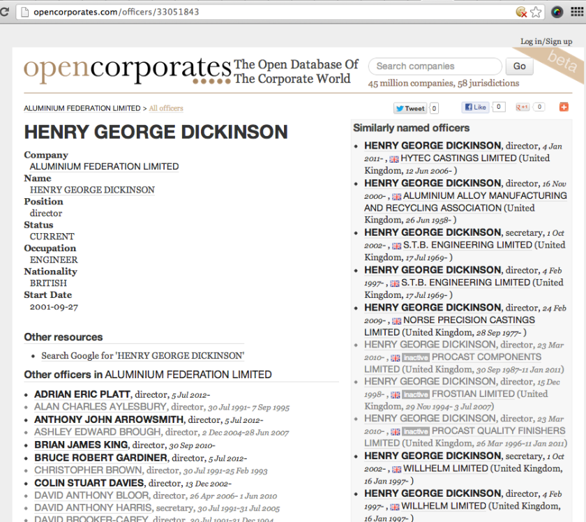 opencorporates - director lookup
