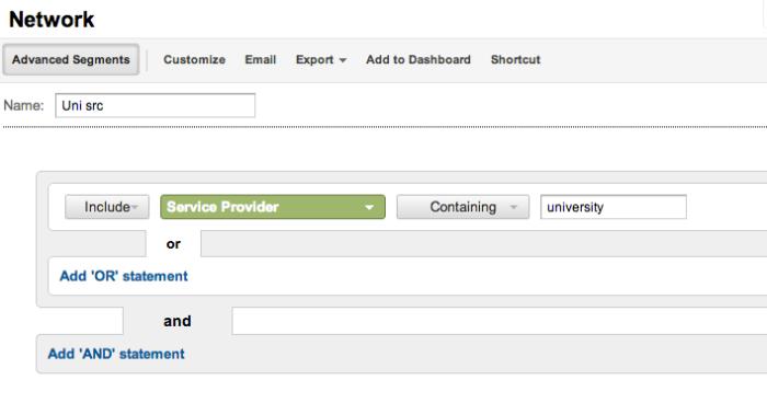 GA - university source:service provider segment