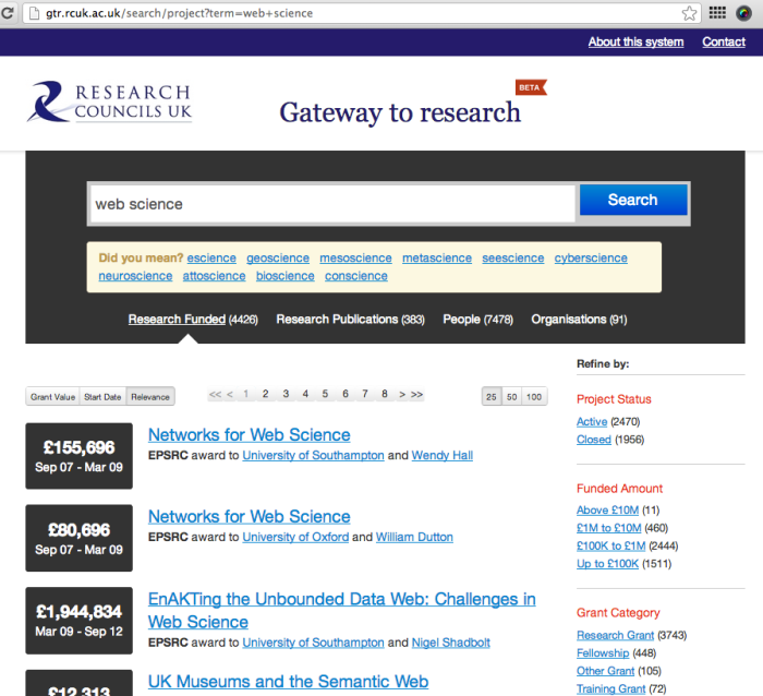 RCUK - Gateway to Research