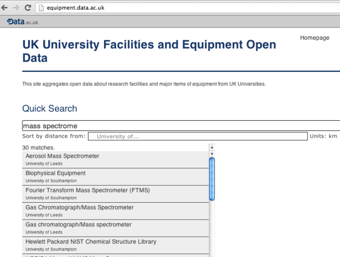 data.ac.uk equipment register