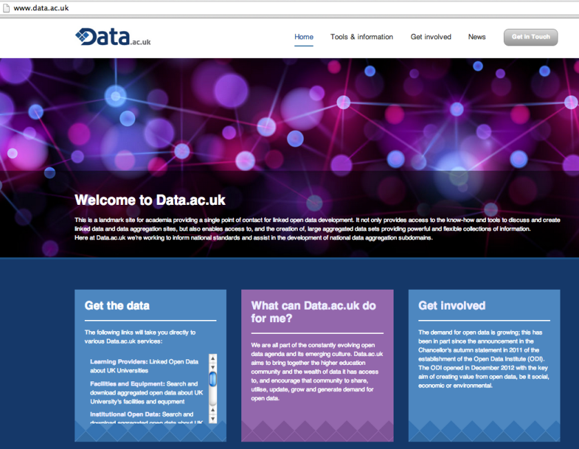 data.ac.uk homepage