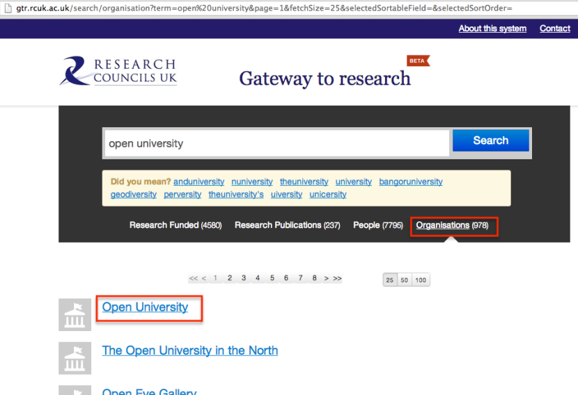 Gtr Open university search