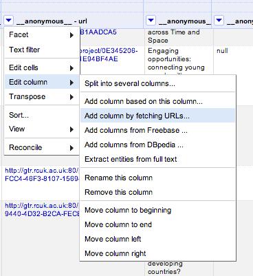 Open Refine - add col by URL