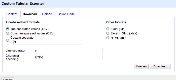 open refine export format select
