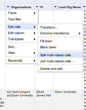 open refine split multi valued cells