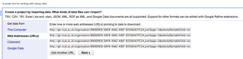 OpenRefine import data