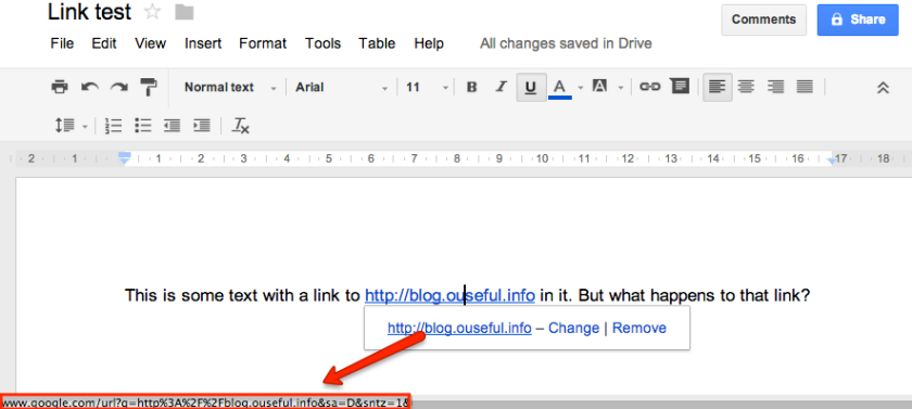 google docs link direction