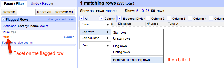 facet on flagged row