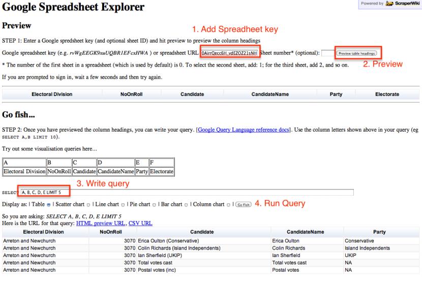 Google spreadsheet explorer