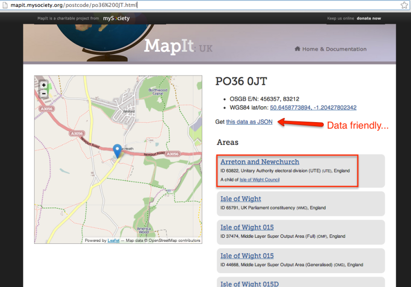mapit postcode lookup