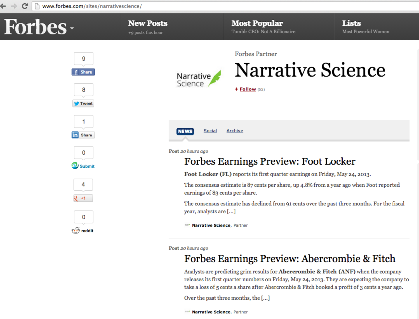 narrative science forbes