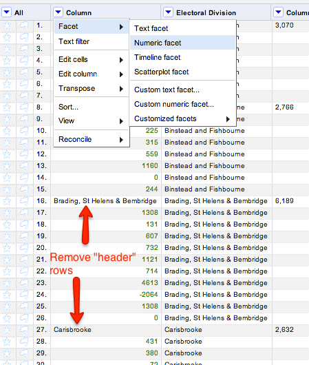 Remove header rows