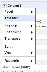 Selectt OpenRefine filter