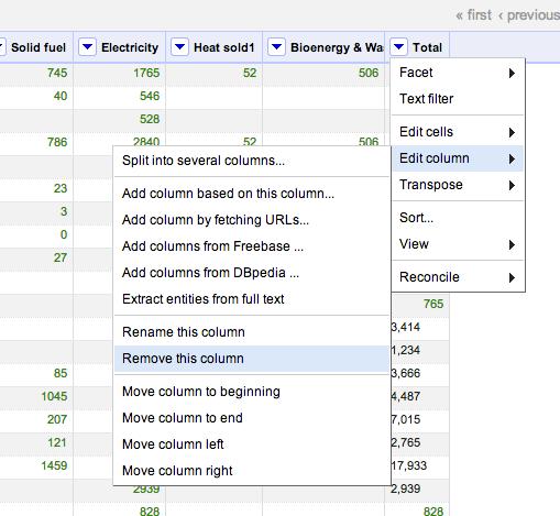 DECC remove data column