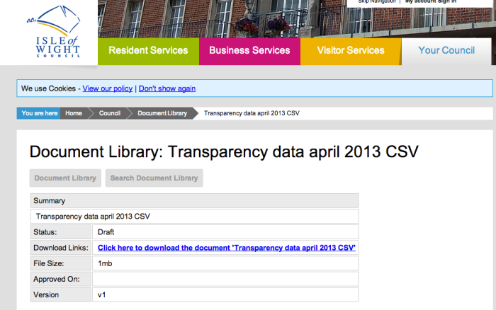 IW council transparency data download link