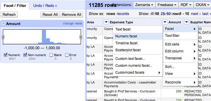 open refine - check amount as numeric