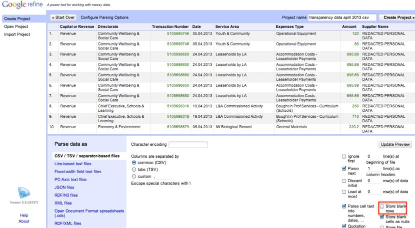 openrefien import csv settings