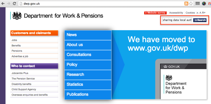search on dwp.gov.uk