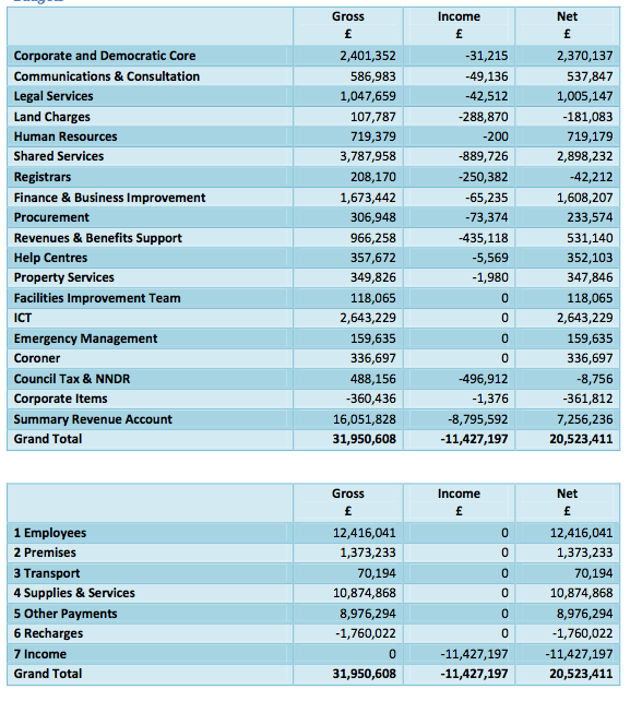 IW council central services and corporate costs 2013-14