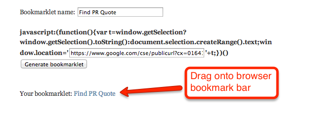 bookmarklet genrator