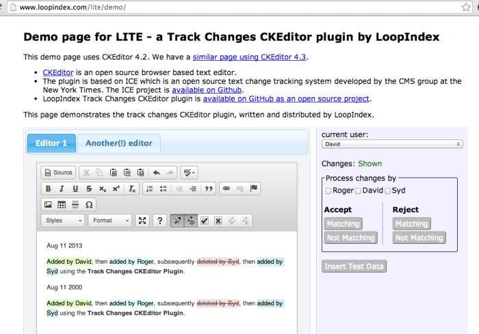 lite - ck editor track changes