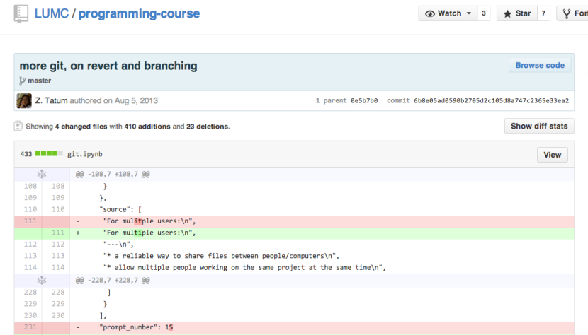 Track changes in github