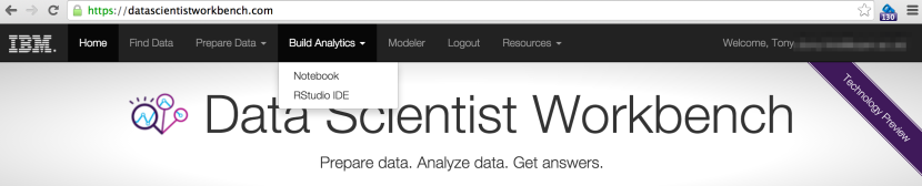 IBM DataScientistWorkBench = OpenRefine + RStudio + Jupyter Notebooks in the Cloud, Via Your Browser