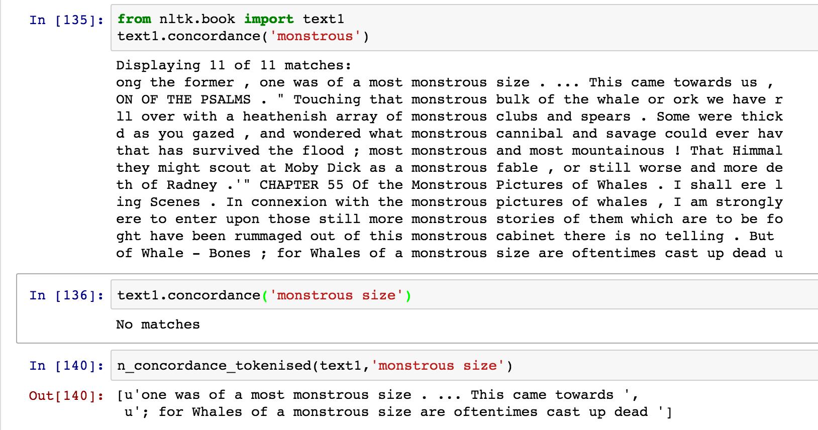 n-gram / Multi-Word / Phrase Based Concordances in NLTK