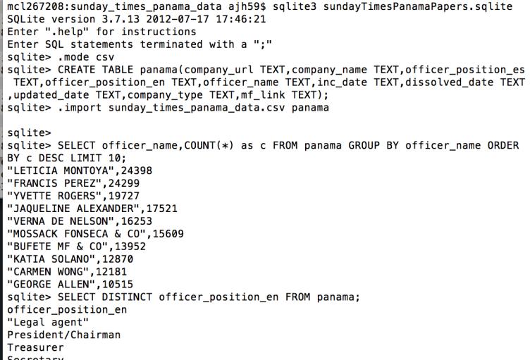 sunday_times_panama_data_—_sqlite3_—_82×41_and_ajh59_—_jupyter_mac_command_—_bash_—_80×24