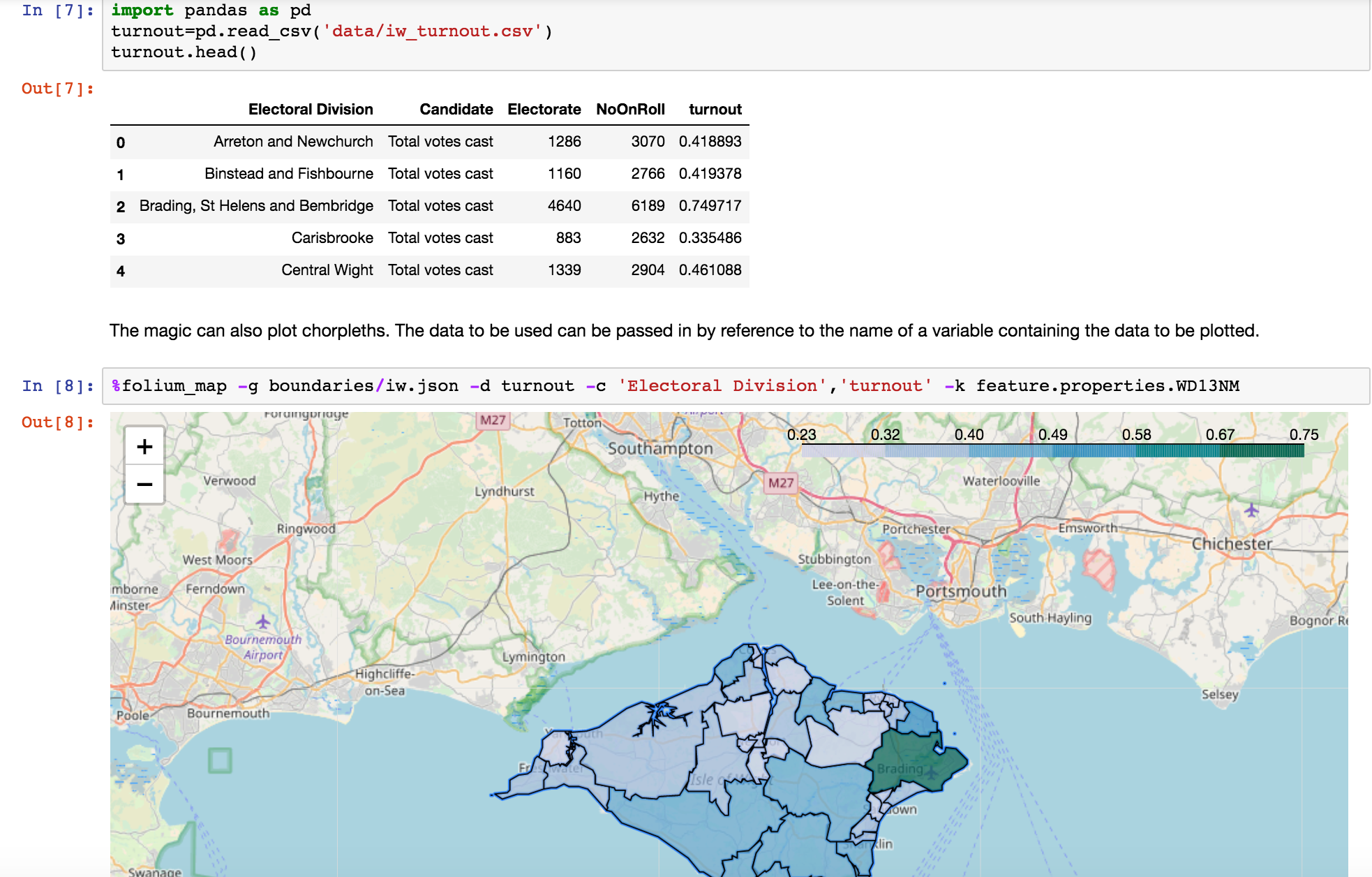 Embedding folium Maps In Jupyter Notebooks Using IPython