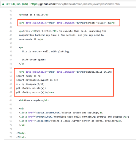Using ThebeLab to Run Python Code Embedded in HTML Via A