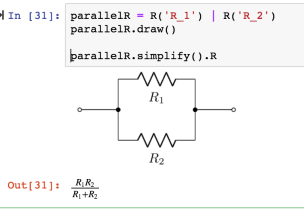 for example, given a parallel resistor circuit, defined using a network  description, we can find the overall resistance in simplest terms: