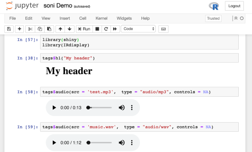 Embedded Audio Players in Jupyter Notebooks Running IRKernel